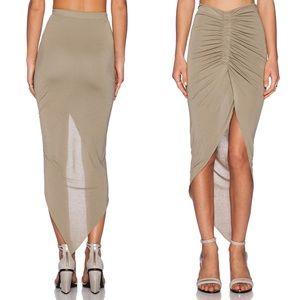 🌟BARDOT Asymmetrical Gathered Skirt Khaki REVOLVE